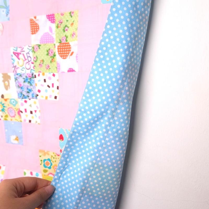 Patchwork Blue Hearts blanket
