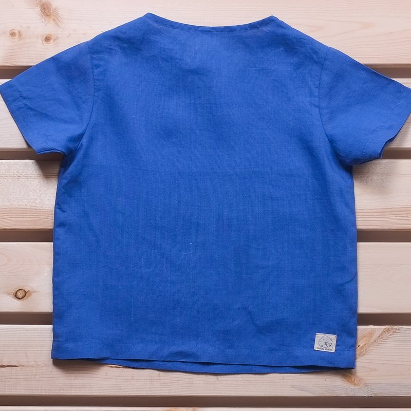 Spring Collection : Resort Blue Linen Top 30% Off