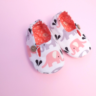 Grey Pink elephant Booties