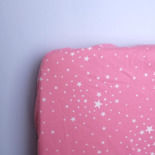 Starry Pink White Cot Fitted Sheets