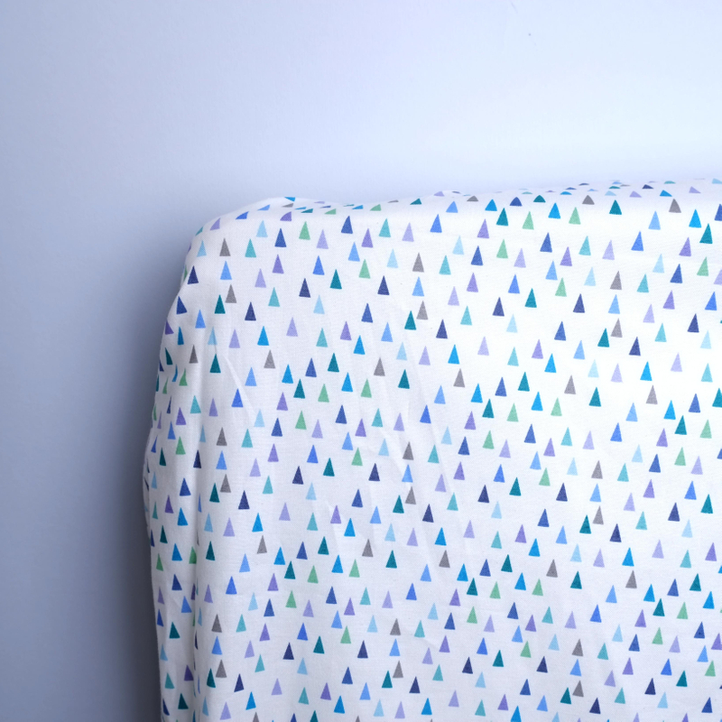 Blue Triangles Cot Fitted Sheets