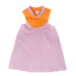 Retro Cheongsam -Orange Triangles