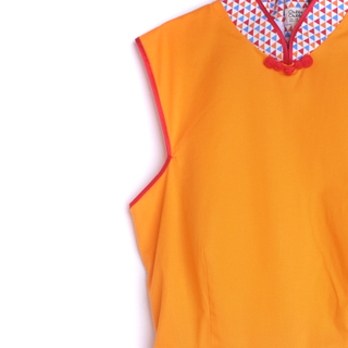 Exclusive Retro Orange Mommy Cheongsam