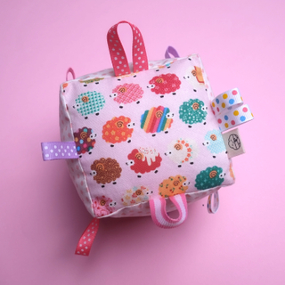 Rattle Cube Sensory Toy- Cute little Baa Baa Pink
