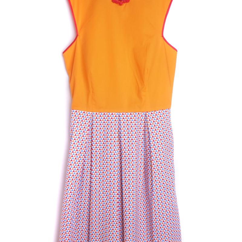 Exclusive Retro Orange Mommy Cheongsam