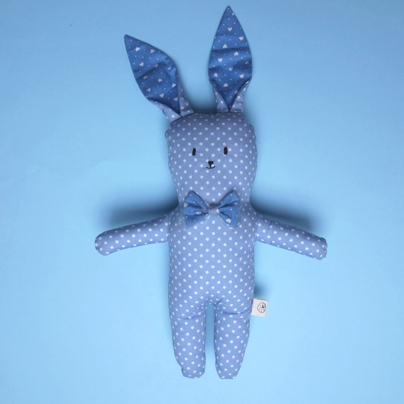 Mr Blue Bow-tie Bunny Rattle Plush Toy