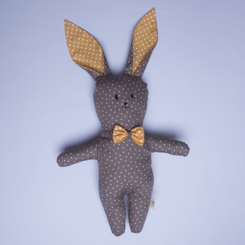 Mr Star Bow-tie Bunny Rattle Plush Toy