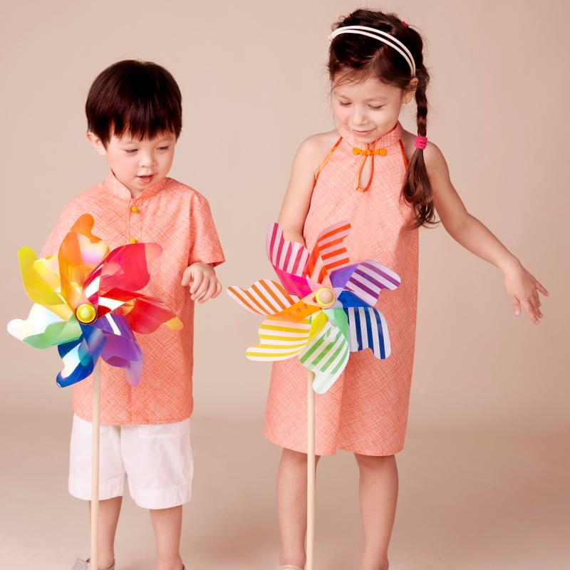Modern dolly  Cheongsam - Orange checks