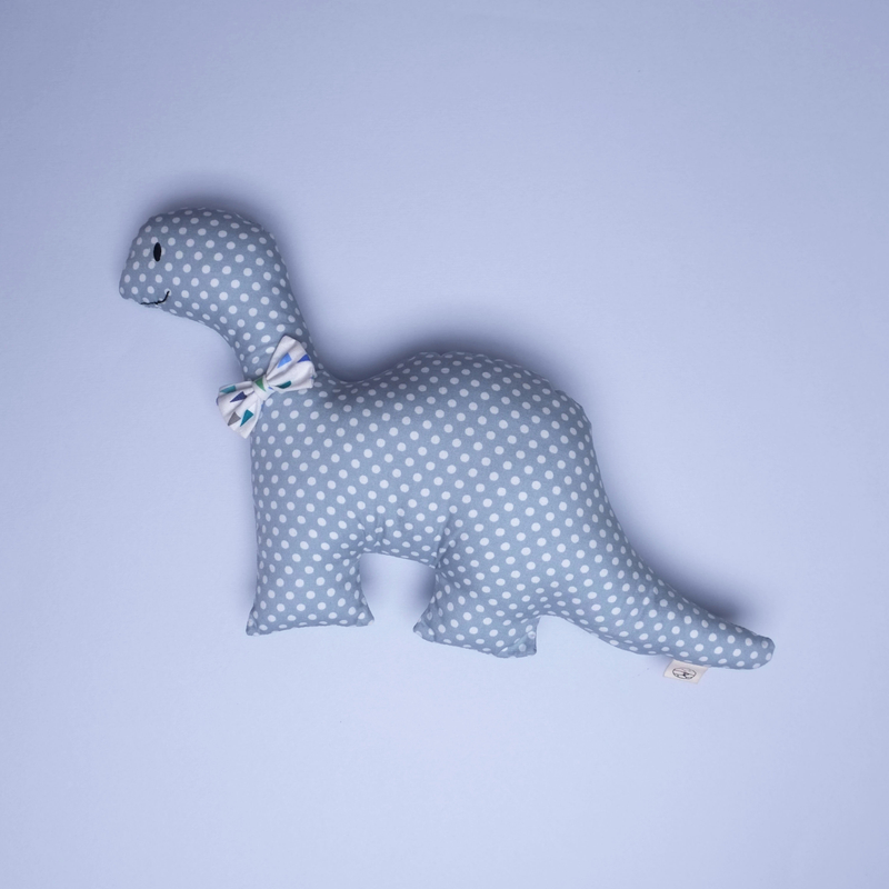 Mr Bow Tie Rattle Dino Plush Toy- Grey