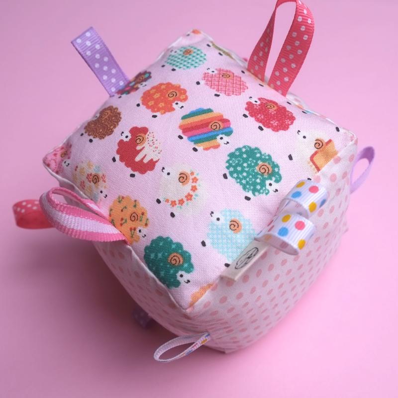 Rattle Cube Sensory Toy- Cute little Baa Baa Pink