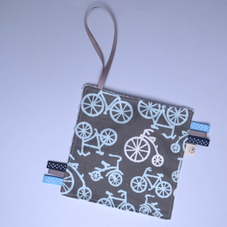 Rattle Hankie Sensory Toy- Grey Bicycle