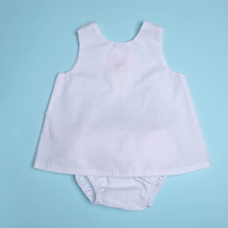 Rach's Reversible Dress - Angel White with Bloomers