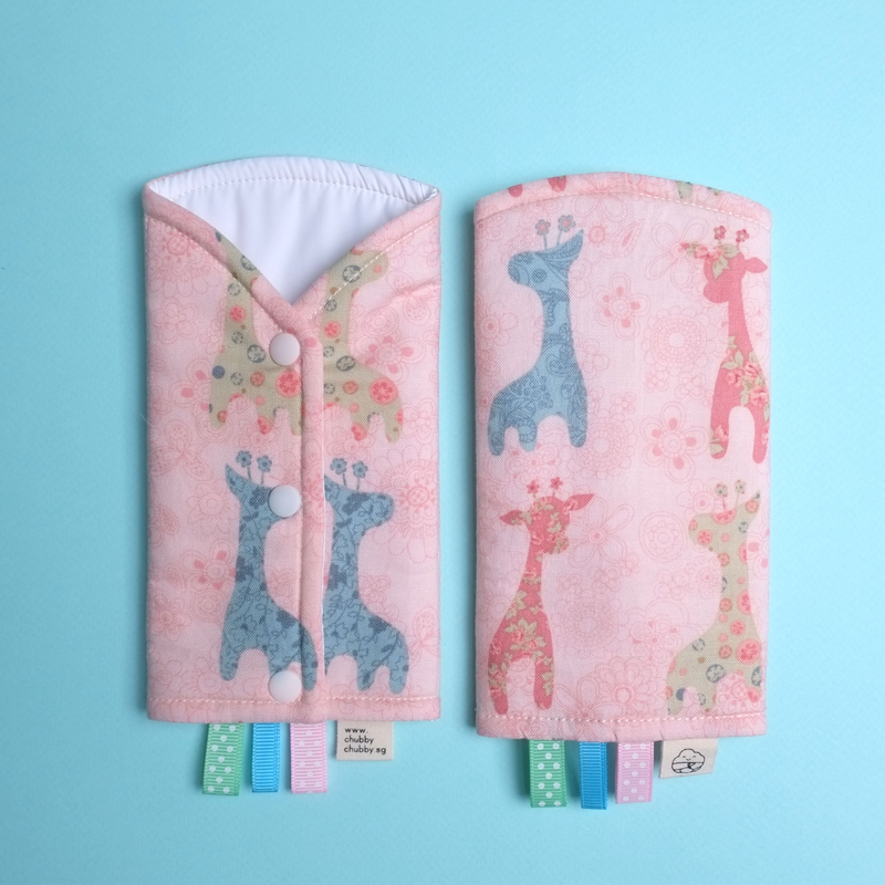 Pink Giraffe Drool Pads
