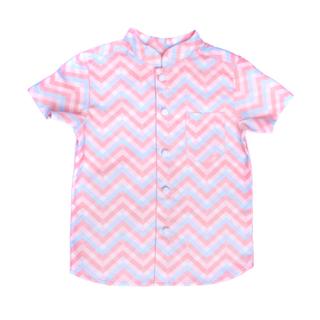 Pastel Chevron Mandarin Shirt