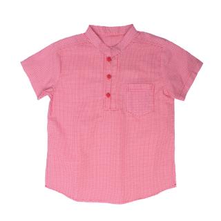 New Red Checkered Mandarin Shirt