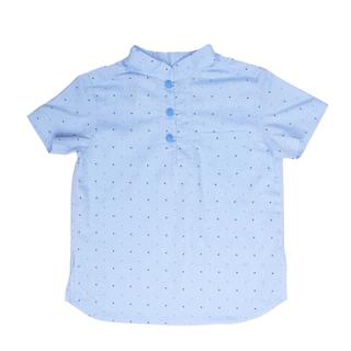 Blue Polkadot Mandarin Shirt