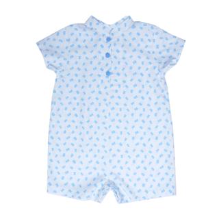 Baby Boy Romper- Blue Leaves
