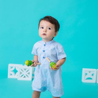 Baby Boy Romper- Blue Polkadot