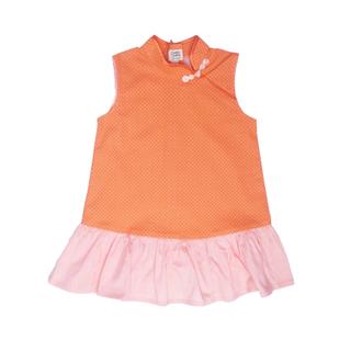 Girly Cheongsam - Mini Orange Dots