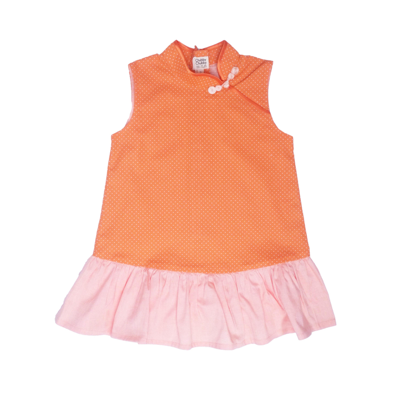 Girly Cheongsam - Mini Orange Dots