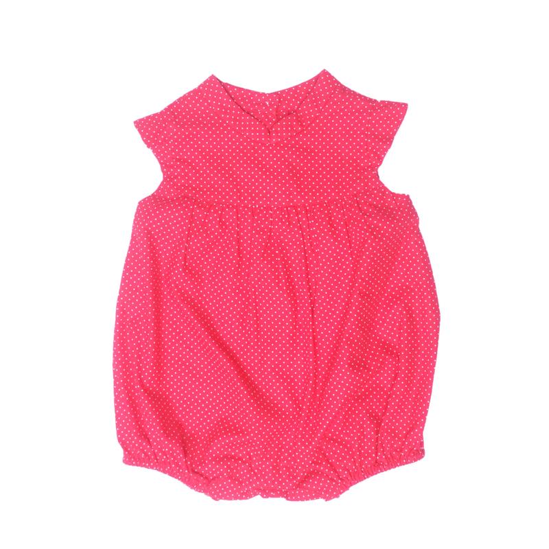 Baby Girl Romper- Mini Dots Red