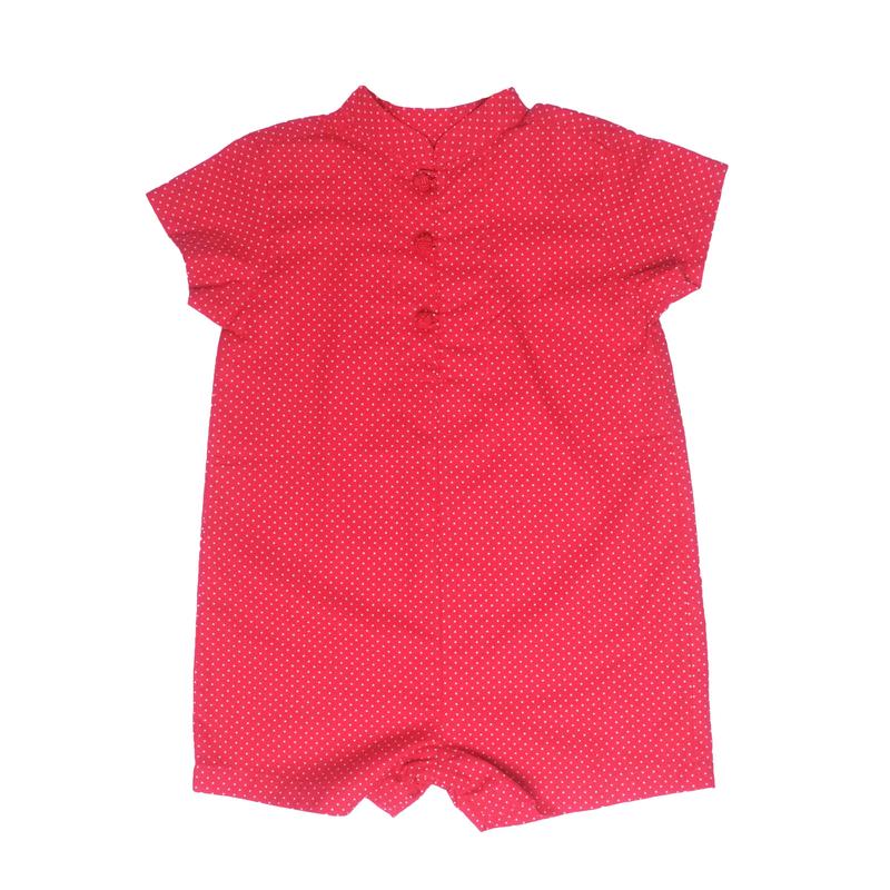 Baby Boy Romper- Mini Red Dots