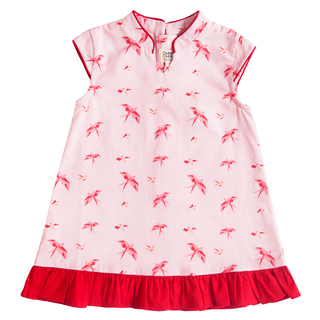 Girl's Modern Flutter Cheongsam - Pink Red Swallows