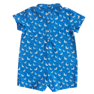 Baby Boy's Mini Collar Romper - Blue Papercranes