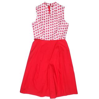 Mommy's Modern V Jumpsuit - Red Orange Circles