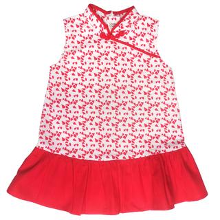 Girl's Girly Cheongsam - Red Geometric Shapes