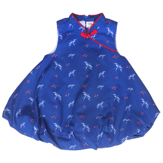 Girl's Bubble Cheongsam - Navy Red Swallows