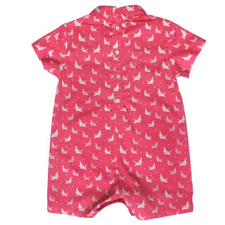 Baby Boy's Mini Collar Romper - Coral Papercranes