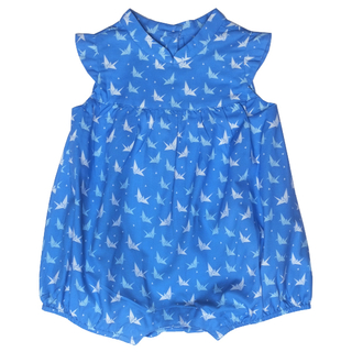 Baby Girl's Bubble Romper - Blue Papercranes