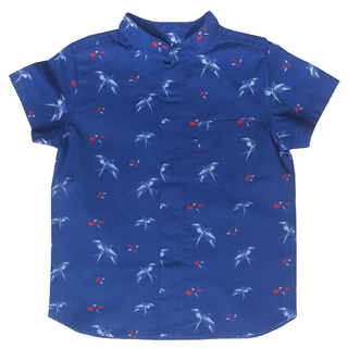 Boy's Mandarin Shirt - Navy Red Swallows