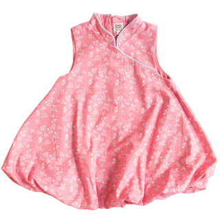 Girl's Bubble Cheongsam - Pink Blue Koi