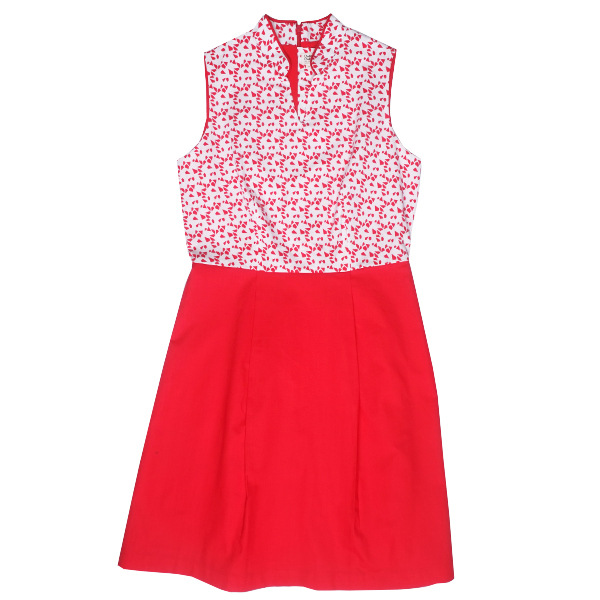 Mommy's Fit-Flare Cheongsam - Red Geometric Shapes
