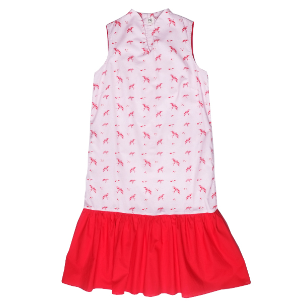 Mommy's Midi Cheongsam - Pink Red Swallows
