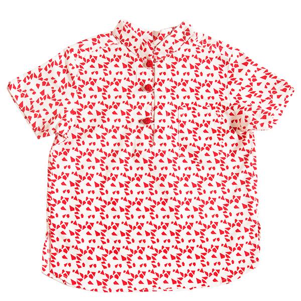 Boy's V-Cut Sleeve Shirt - Red Geometric Shapes