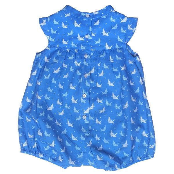 Baby Girl's Bubble Romper - Blue Papercranes