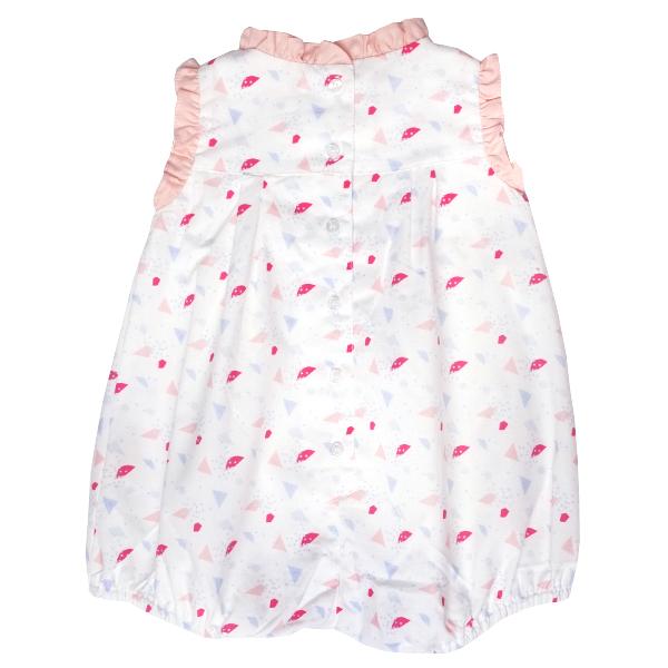Baby Girl's Ruffles Romper - Pastel Geometric Shapes