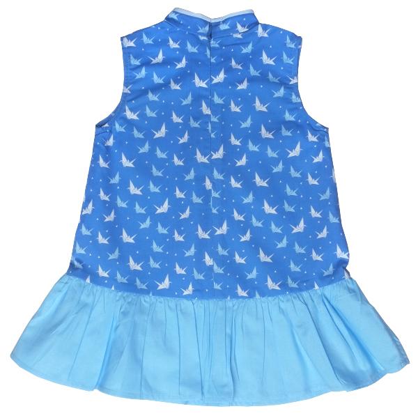 Girl's Girly Cheongsam - Blue Papercranes