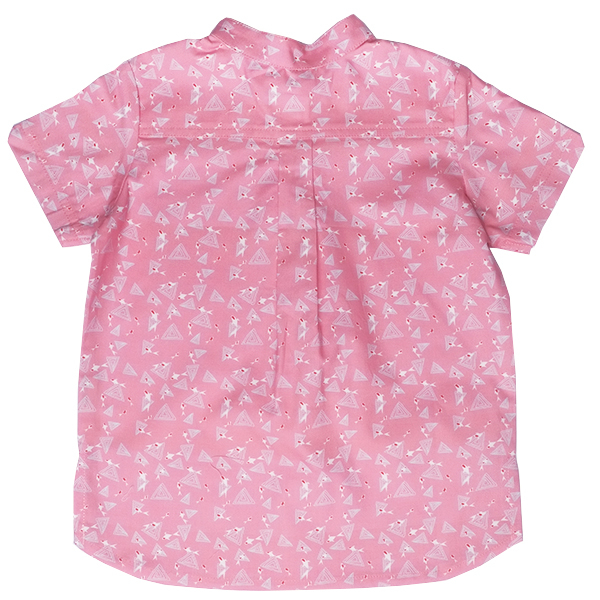 Boy's V-Cut Sleeve Shirt - Pink Blue Koi