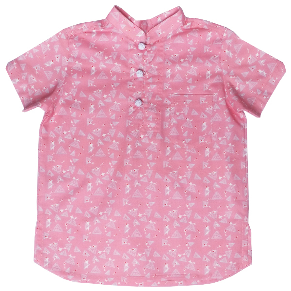 Boy's V-Cut Sleeve Shirt - Pink Blue Koi