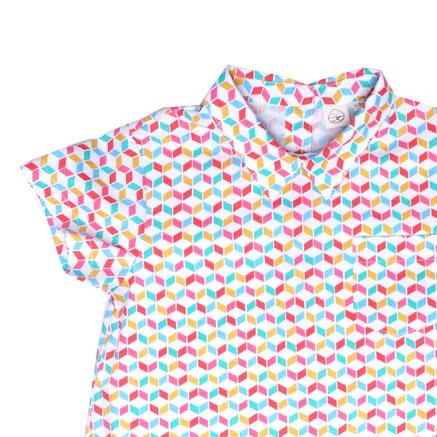 Baby Boy's Mini Collar Romper - Rainbow Chevy