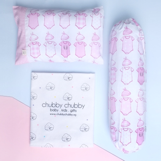 Two is better than one bundle- Pillow & Bolster Baby Onesies- Pink