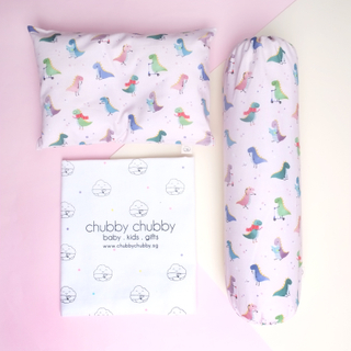 Two is better than one bundle- Pillow & Bolster Playful Dinos Pink