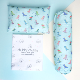 Two is better than one bundle- Pillow & Bolster Playful Dinos Mint