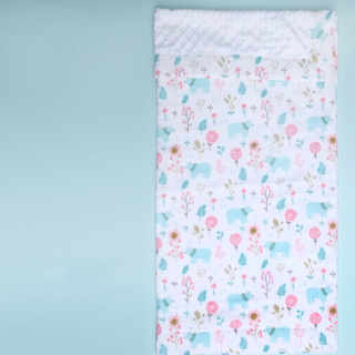 Minky Baby Blanket- Mint Forest Bears