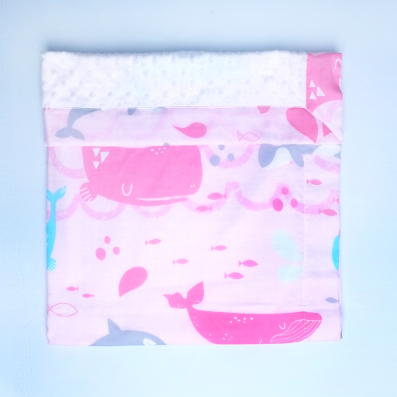 Minky Baby Blanket- Pink Grey Whales