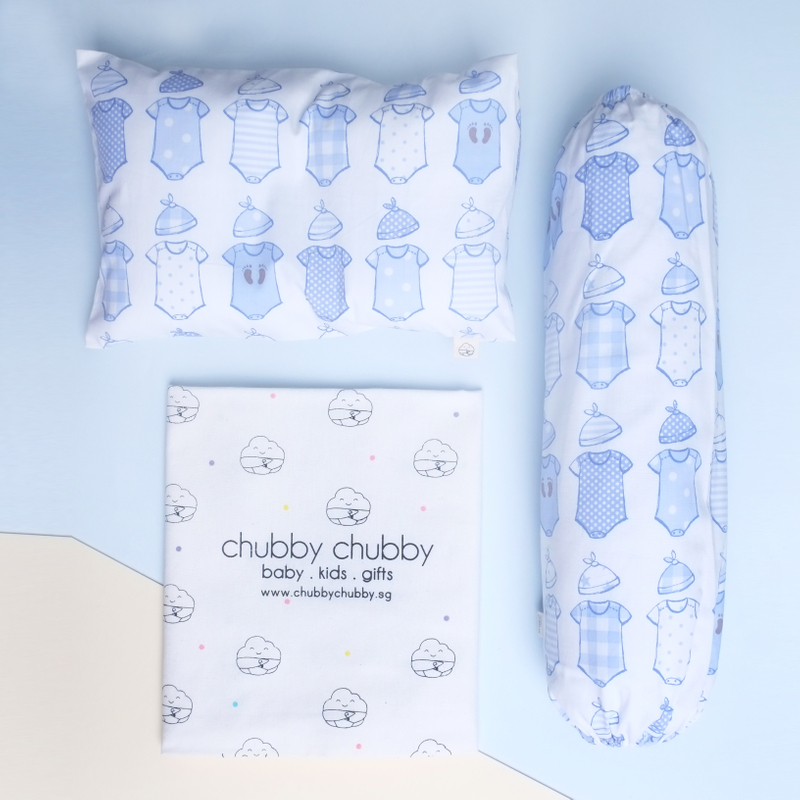 Two is better than one bundle- Pillow & Bolster Baby Onesies- Blue